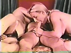 vintage, small tits, threesome